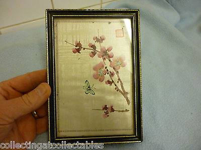 Chinese Watercolour  Painting Butterfly with flora Signed With Seal