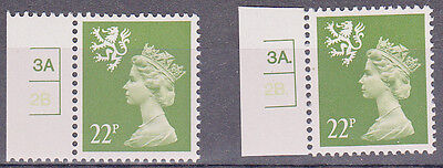 SCOTLAND -  Rare Cylinder Singles 22p - 3a 2b Dot and No Dot MNH