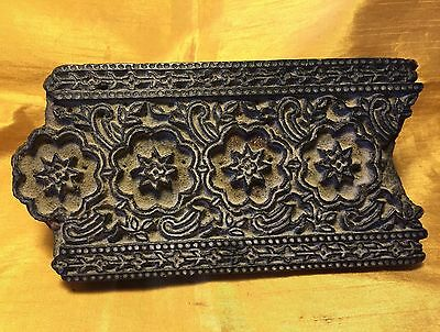Vtg India Carved Block Wood Textile/Fabric Border Stamp/Stencil Repeating Stars