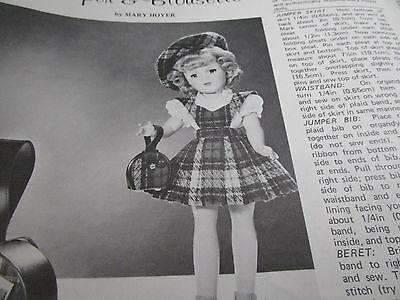 "Vtg 14""  Mary Hoyer Doll SCOTCH PLAID JUMPER/BLOUSE Outfit Pattern UNCUT"