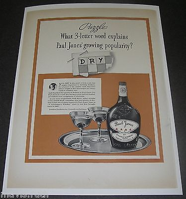 Print Ad 1937 DISTILLERY Paul Jones Whiskey Puzzle What 3-letter word explains.