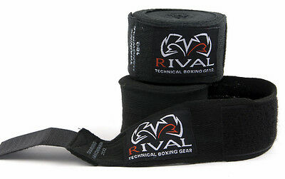 "Rival Boxing 200"" Traditional Cotton Handwraps - Black"