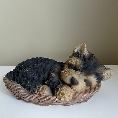 YORKSHIRE TERRIER IN WICKER BASKET Figurine Decoration Gift Resin 7 in.New