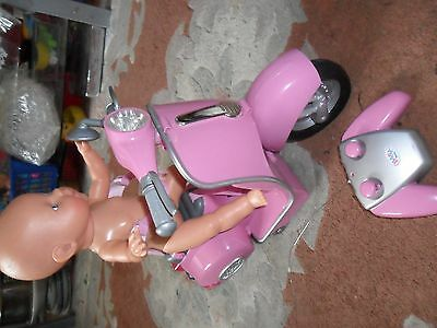 Nice Zapf Creations Baby Born Remote Control Scooter And Doll,working,vgc