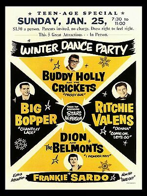 "Buddy Holly Winter Dance Party 16"" x 12"" Photo Repro Concert Poster"