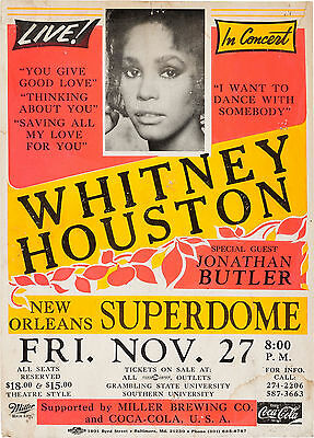 """Whitney Houston New Orleans 16"""" x 12"""" Photo Repro Concert Poster"""