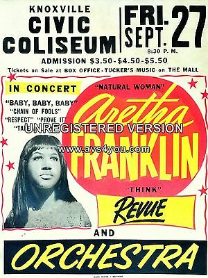 "Aretha Franklin Knoxville 16"" x 12"" Photo Repro Concert Poster"