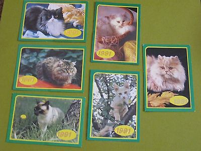 lot of 6 cat Russian pocket calendars 1991 (free ship $20 min US only)