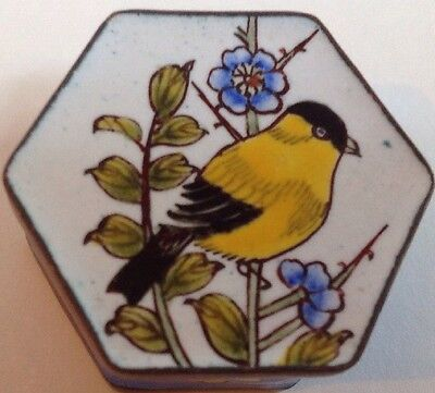 "Enamel Trinket Ring Box Goldfinch Flowers Hexagon Brass Trim Handpainted 1"" x 2"""