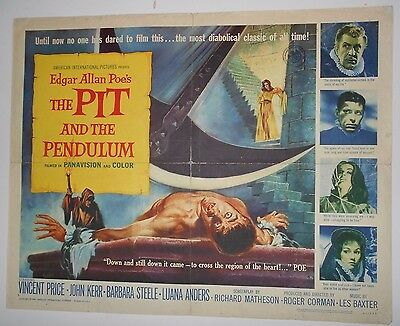 Pit and the Pendulum half-sheet movie poster Vincent Price Poe horror Corman