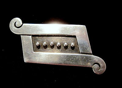 REVERIANO CASTILLO Vintage STERLING SILVER TAXCO Aztec By-Pass Scroll Design PIN