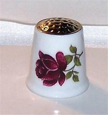 Kunst Kronach Gold Top Red & Yellow Roses Porcelain Thimble Western Germany Gift