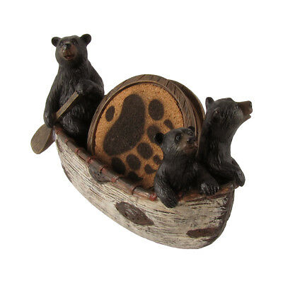 3 Black Bears in Canoe Coaster Set/4 Bear Paw Coasters Hunting Cabin Lodge Decor