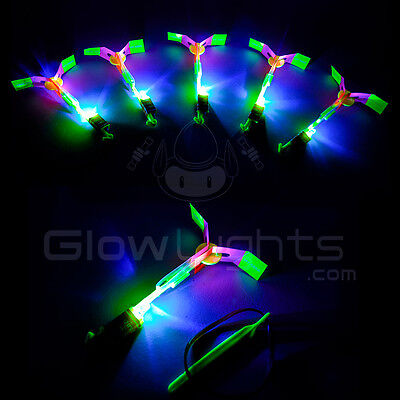 500x LED Glow Helicopter Flying Sling Shot Copter Toy Light Up Boomerang Arrows