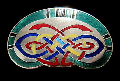 TARA WARE Vintage COLORFULLY ENAMELED Sterling Silver CELTIC KNOT Irish PIN