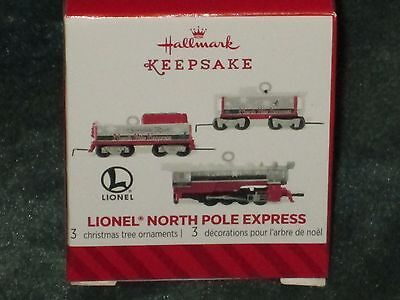 Hallmark 2014 Lionel North Pole Express - Set of 3 -  Miniature Ornament - NEW
