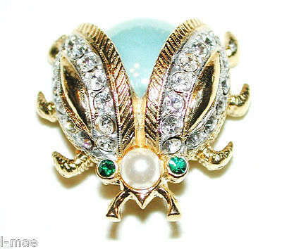 VINTAGE NEW LADYBUG PIN BLUE MOONGLOW BODY W CRYSTAL LINED WINGS SPHINX for KJL