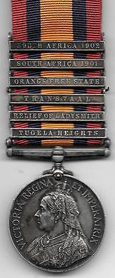 Great Britain Queens South Africa Medal Six Clasps 3537 PTE E. MEAD 13th Hussars
