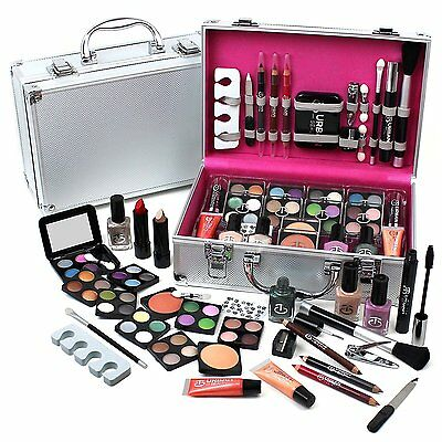 Urban Beauty 60pc Cosmetic Gift Set Travel Make Up in Silver Vanity Case VALUE!