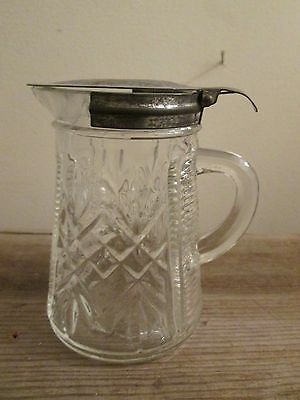 Vintage Clear Pressed Glass Syrup Pitcher with Tin Flip Up Lid