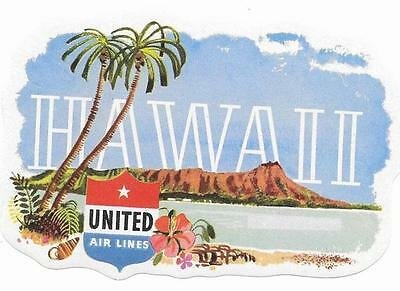 USA 1950s United Airlines Original Hawaii Sticker / Label