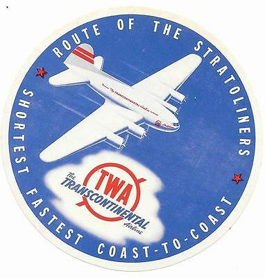USA Early 1940s TWA Airlines Boeing 307 Stratoliner Original Sticker / Label