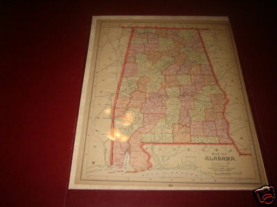 ALABAMA  1890 ₃Antique color  state map original authentic