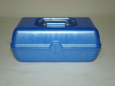 Smaller Blue Caboodles Makeup Cosmetic Caddy Train Case Organizer Trays