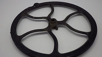 """Antique 12 1/4"""" OLD  Industrial Fancy Pulley Cast Iron Steam Punk Decor"""