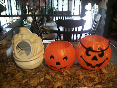 vintage halloween blowmolds/ candy buckets. all in great cond. get all 3