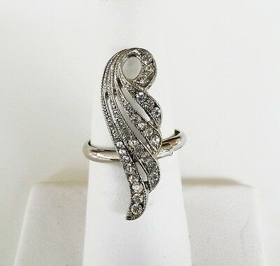 Vtg Angel Wing Clear Rhinestone Silver Tone Ring Ladies Adjustable Size 6.25