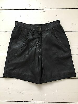 Vintage Black Soft Leather High Waisted Shorts Size 10 Blogger