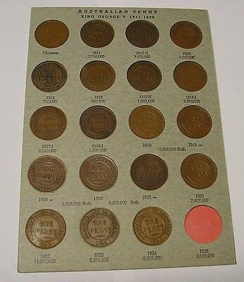 Australian Pennies 1911 to 1924 all dates & mints, on card described.