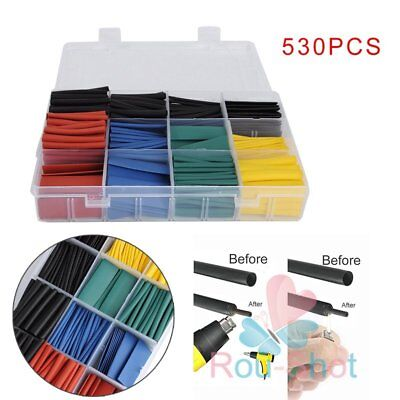 530 Pcs 2:1 Heat Shrink Tubing Tube Sleeving Wrap Cable Wire 8 Size 5 Colors【UK】