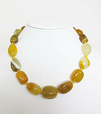 20 inch Graduated Chunky Yellow Agate Necklace Wholesale