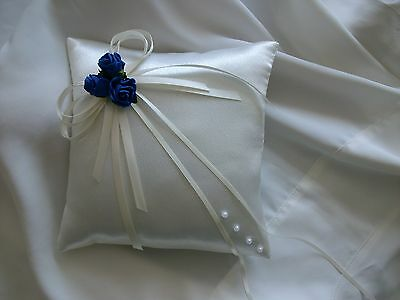 Hand Crafted Ivory & Royal Blue Wedding Ring Cushion