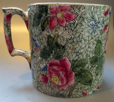Spode Faience Antique Green and Floral Pattern Mug 19C