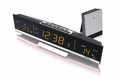 TechnoLine WS6810 Amber LED Temperature Clock Radio Controlled Weather Station