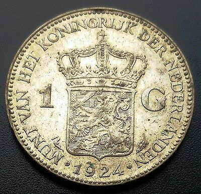 1924 Netherlands 1 Gulden 0.720 Silver Coin ***XF++ Condition*** B14D446