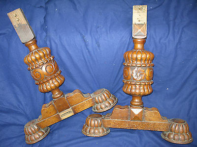 Pair of ornate OAK refectory table ends