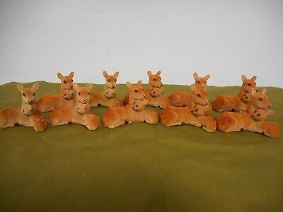 Small BABY DEER FAWN & Mom Lot of 10 NEW WILDLIFE CRAFT OUTDOOR FLOCKED FIGURE