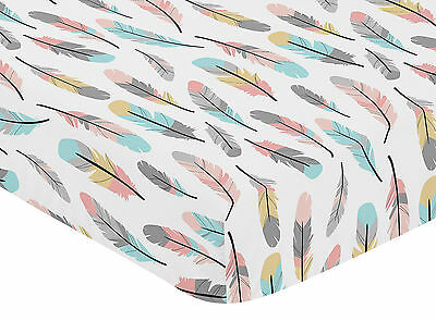 Fitted Crib Or Toddler Sheet For Sweet Jojo Grey Turquoise Coral Feather Bedding