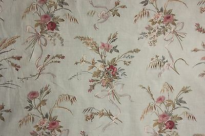 Curtain drape Antique French c 1900 pale blue floral fabric material shabby chic