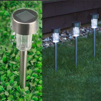 10 X Solar Powered Stainless Steel LED Post Lights Garden Outdoor Rechargeable