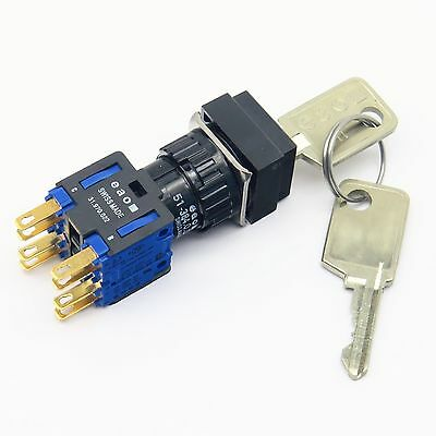 EAO 51-384.0..D Swiss Made Momentary Key Lock Switch 6A 250Vac 3 Position
