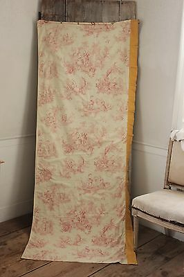 Antique Toile de Jouy fabric pink material c 1900 curtain panel