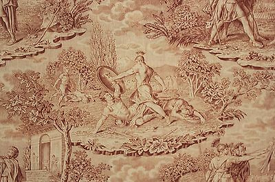 Antique RARE  fabric toile de Jouy material brown cotton Roman scenes