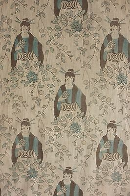 Vintage Fabric Japanisme printed cotton c 1900 blue STUNNING RARE design
