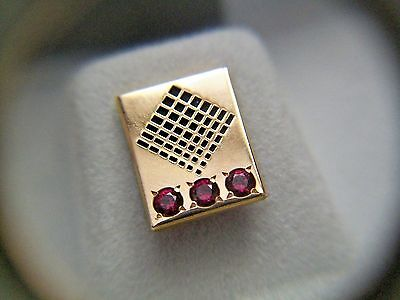 Ivy Steel & Wire 20 Year Service Pin - Octanner 10K With 3 Rubies - Original Box