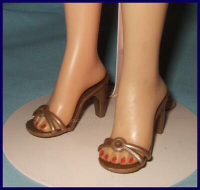 "2-1/8"" x 7/8"" GOLD High Heel Sandals Doll SHOES for Miss Revlon CISSY Dollikins"